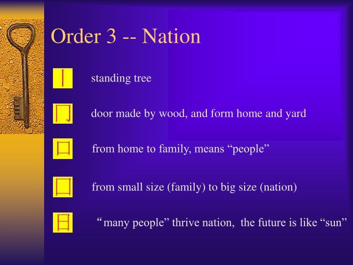 Order 3 -- Nation