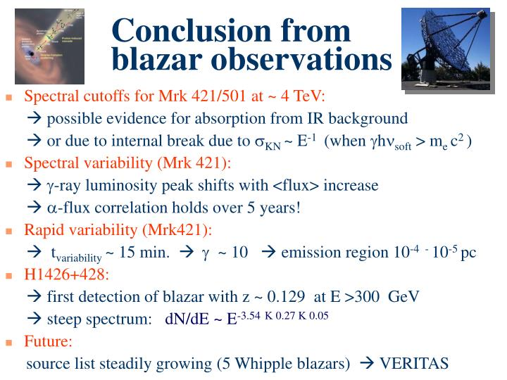 Conclusion from blazar observations