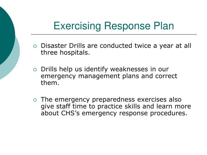 Exercising Response Plan