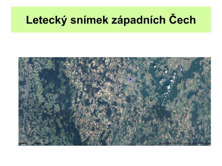 Letecký snímek západních Čech