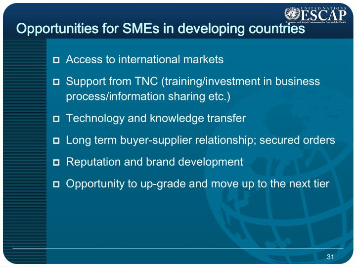 Opportunities for SMEs in developing countries