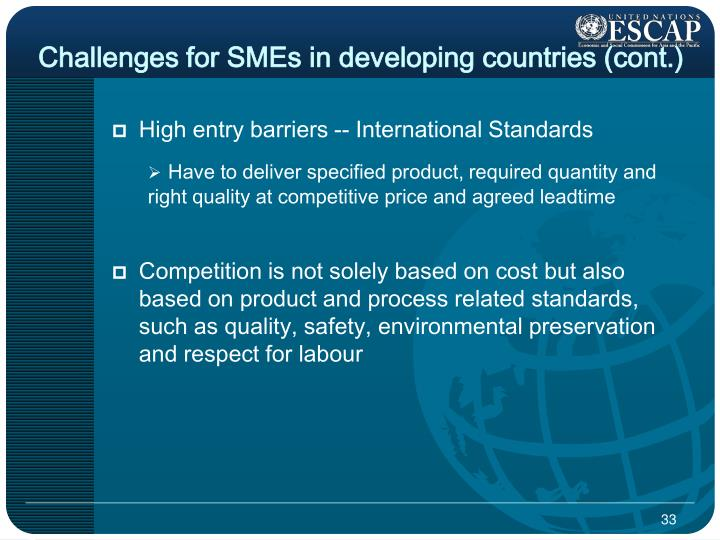 Challenges for SMEs in developing countries (cont.)