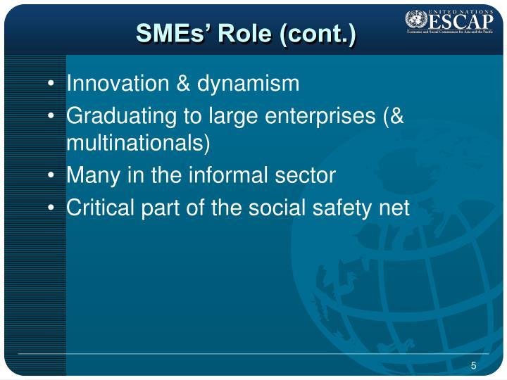 SMEs' Role (cont.)