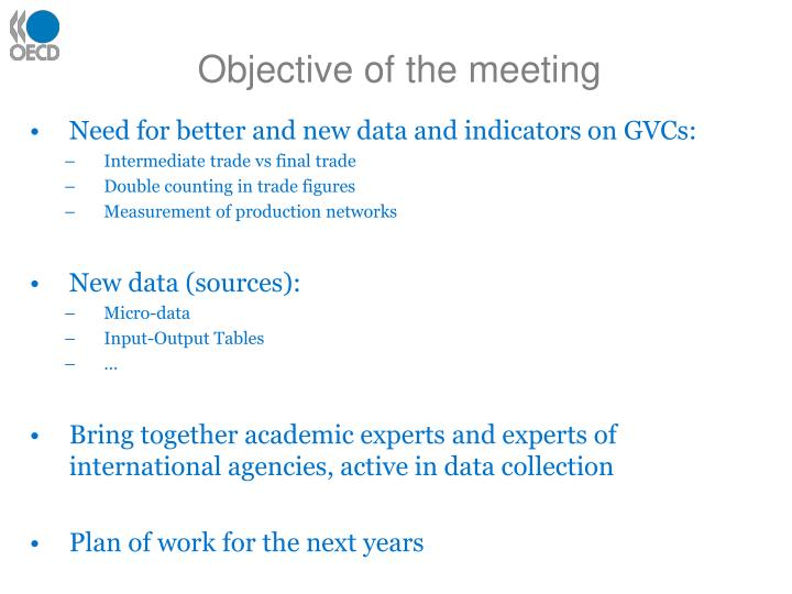 Objective of the meeting