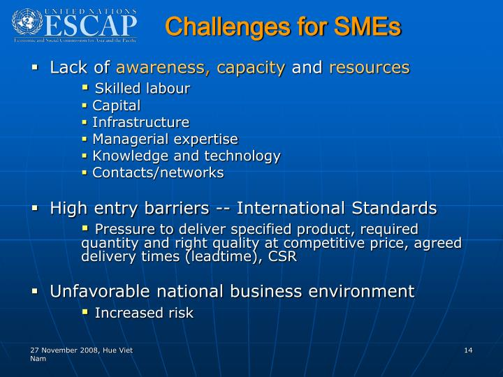 Challenges for SMEs