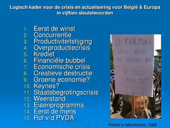 Logisch kader voor de crisis en actualisering voor België & Europa