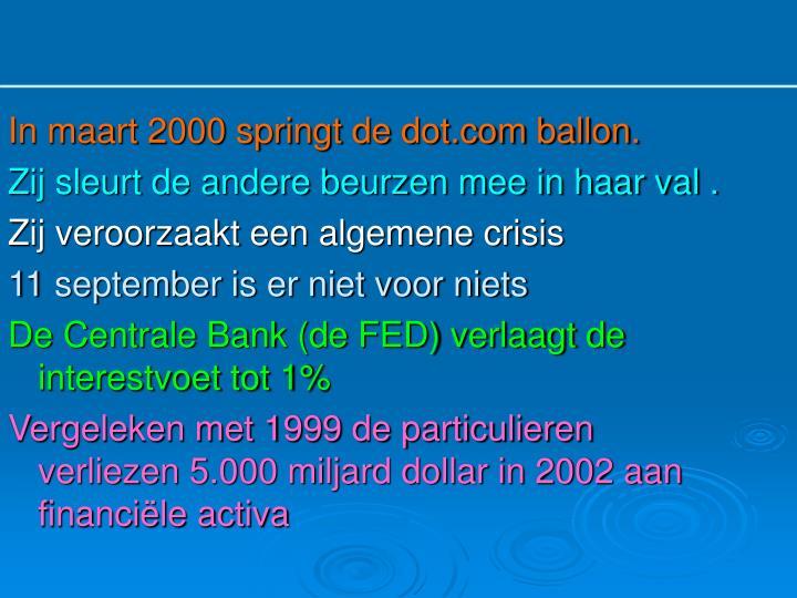 In maart 2000 springt de dot.com ballon.