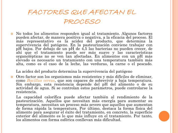 FACTORES QUE AFECTAN EL PROCESO