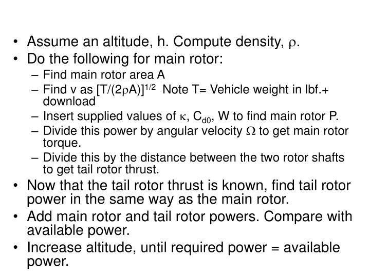 Assume an altitude, h. Compute density,