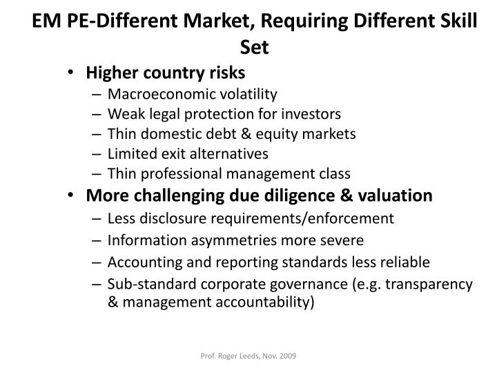 EM PE-Different Market, Requiring Different Skill Set