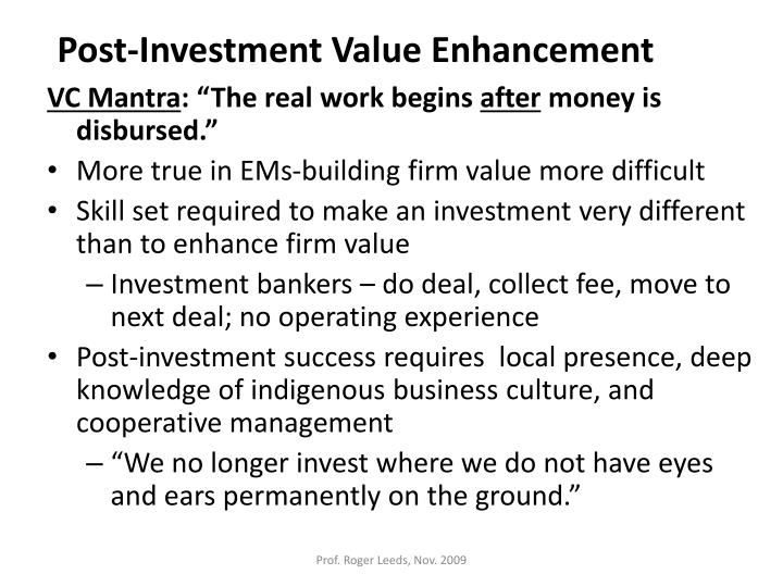Post-Investment Value Enhancement