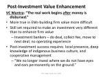 post investment value enhancement