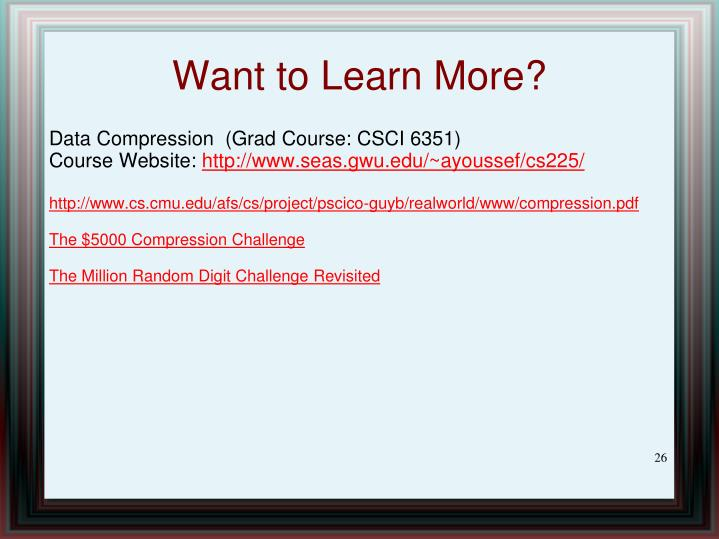 Data Compression  (Grad Course: CSCI 6351)