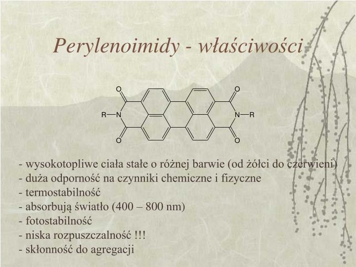 Perylenoimidy - właściwości