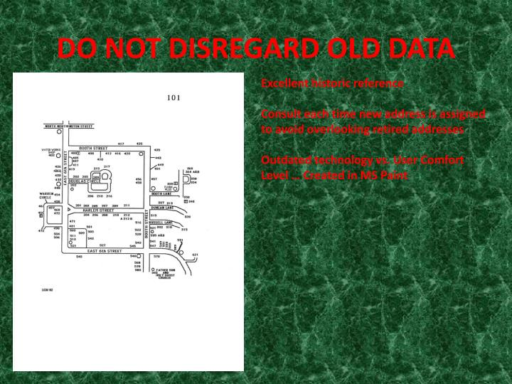 DO NOT DISREGARD OLD DATA