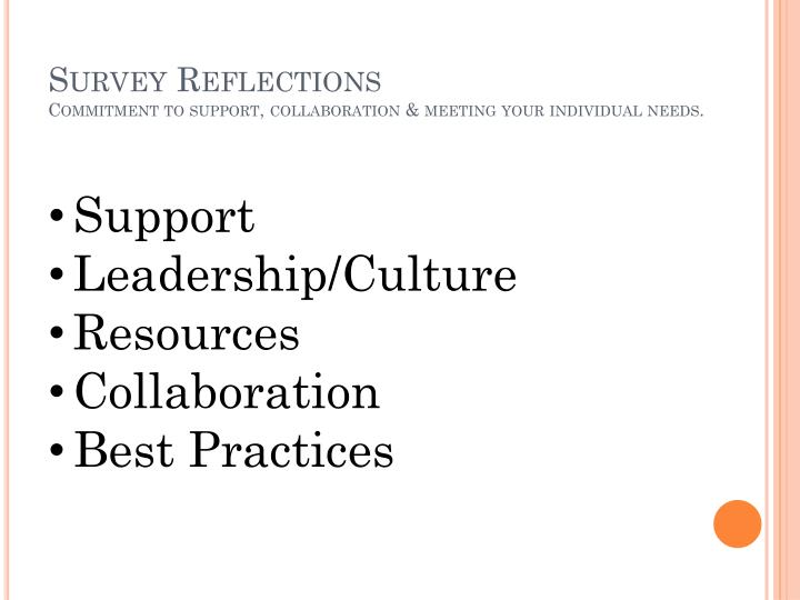 Survey reflections commitment to support collaboration meeting your individual needs
