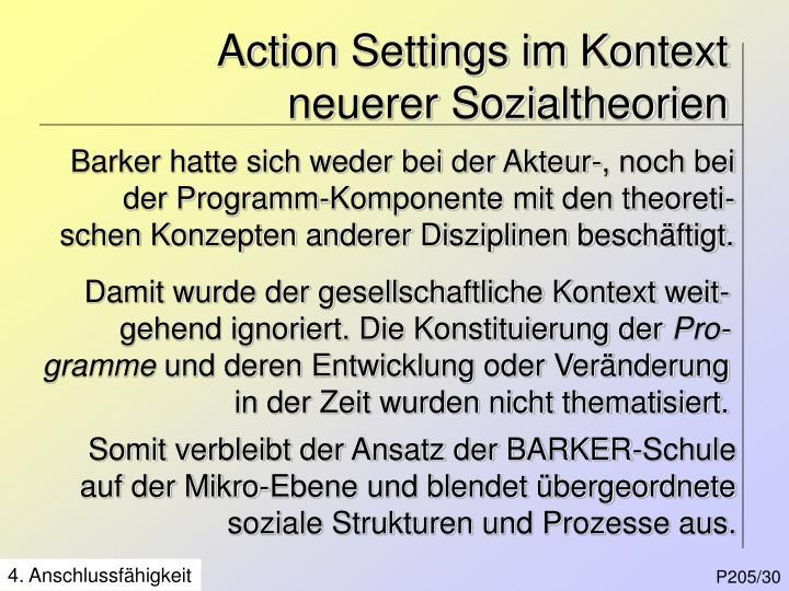 Action Settings im Kontext neuerer Sozialtheorien