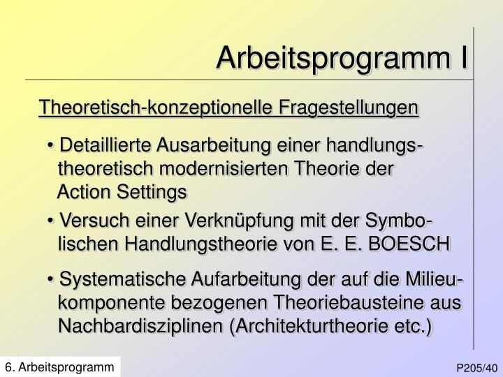 Arbeitsprogramm I