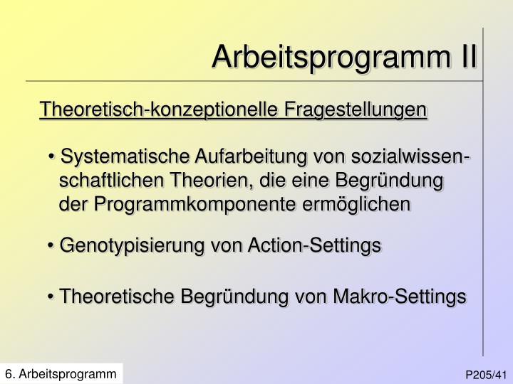 Arbeitsprogramm II