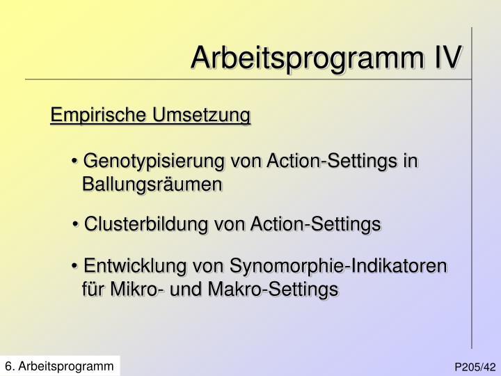 Arbeitsprogramm IV