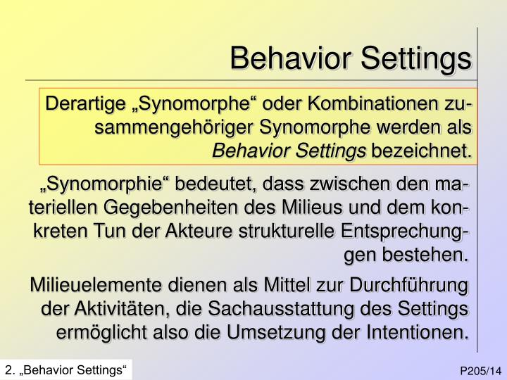 Behavior Settings