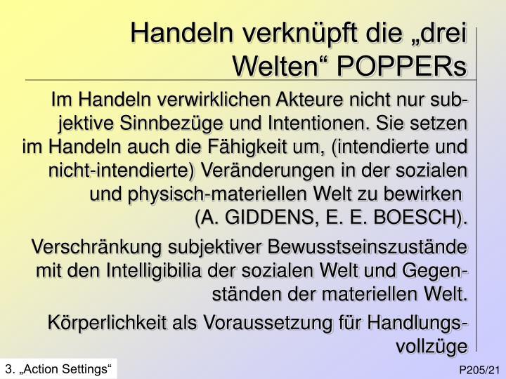 "Handeln verknüpft die ""drei Welten"" POPPERs"
