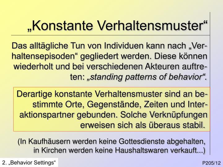 """Konstante Verhaltensmuster"""