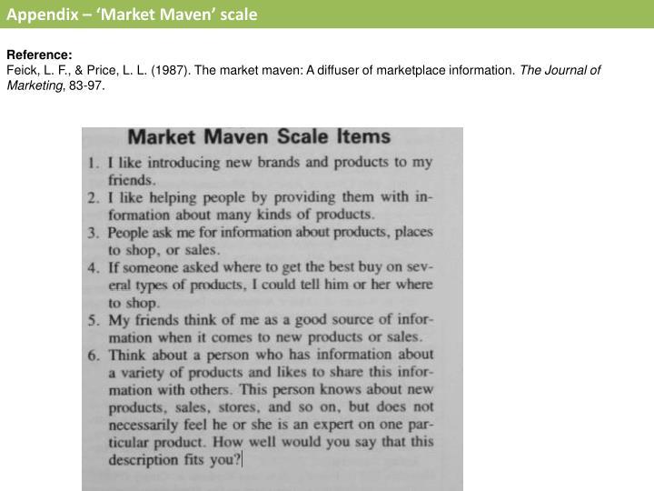 Appendix – 'Market Maven' scale