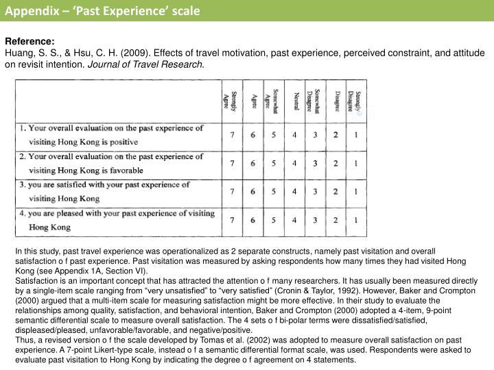 Appendix – 'Past Experience' scale