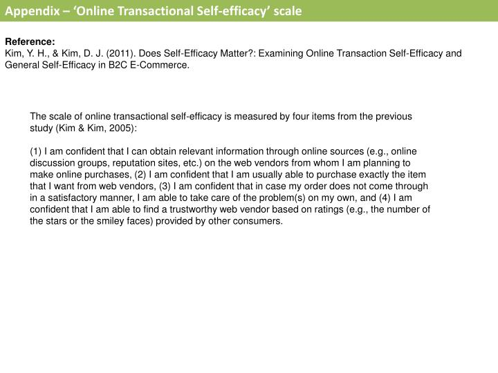 Appendix – 'Online Transactional Self-efficacy' scale