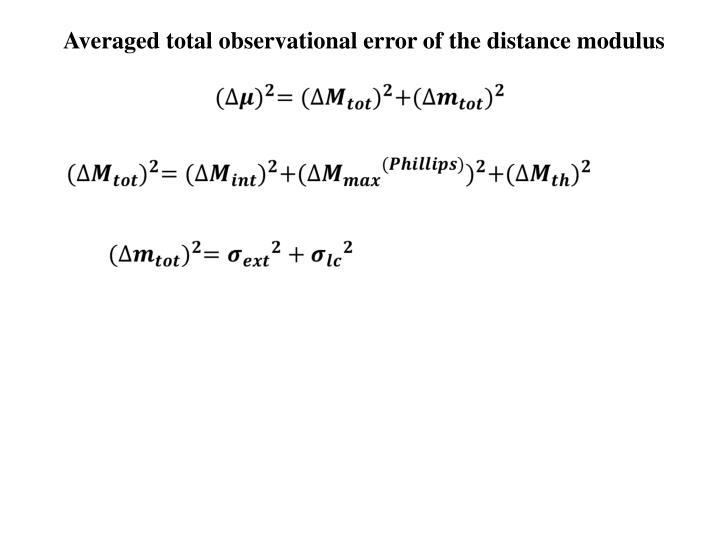 Averaged total observational error of the distance modulus