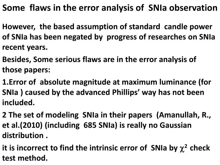 Some  flaws in the error analysis of  SNIa observation
