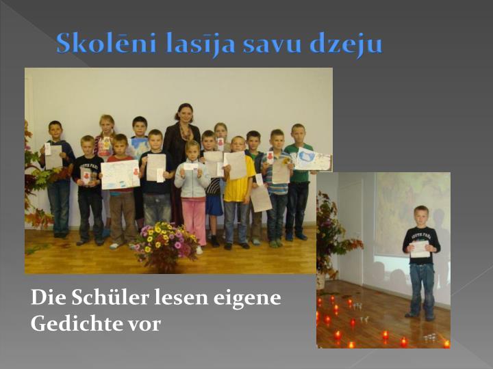 Skolēni lasīja savu dzeju