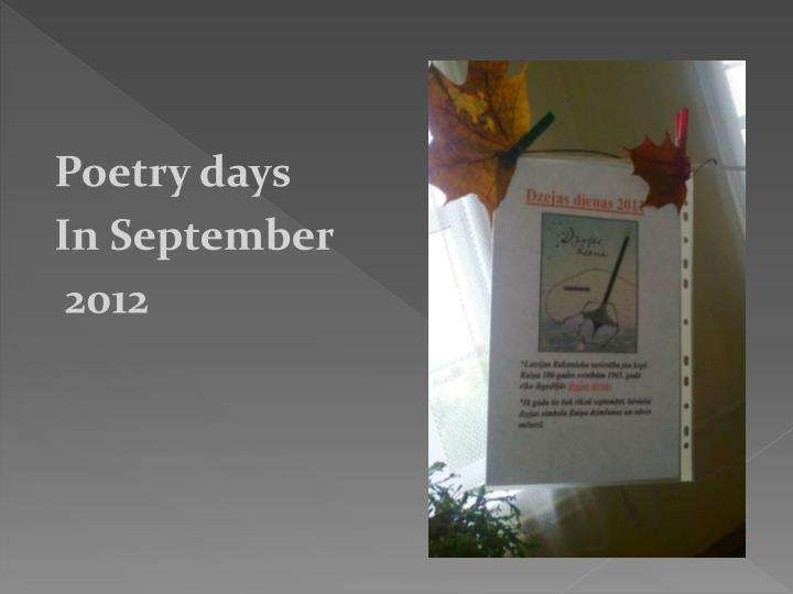 Poetry days