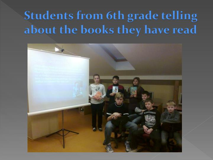 Students from 6th grade telling about the books they have read