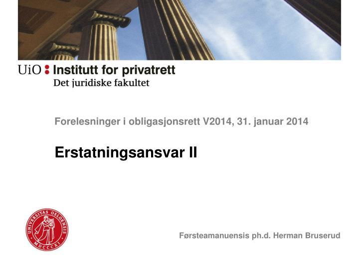 Forelesninger i obligasjonsrett V2014, 31. januar 2014