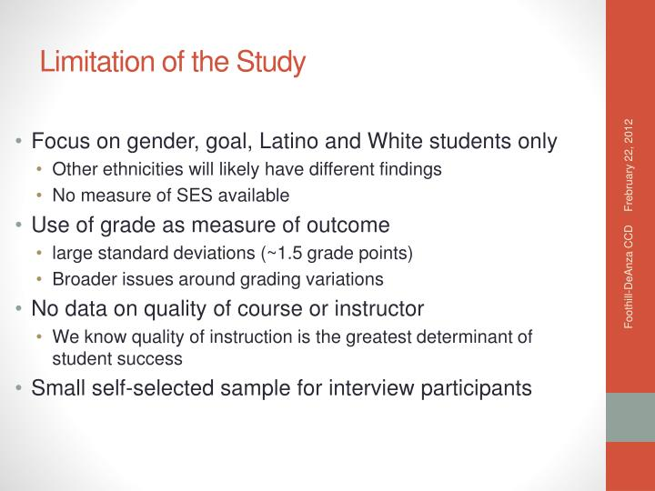 Focus on gender, goal, Latino and White students only