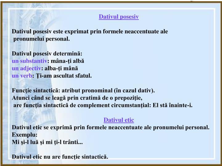 Dativul posesiv