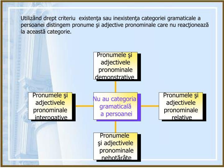 Utilizând drept criteriu  existenţa sau inexistenţa categoriei gramaticale a persoanei distingem pronume şi adjective pronominale care nu reacţionează la această categorie.