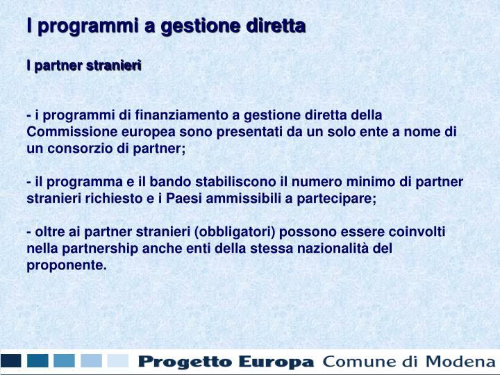 I programmi a gestione diretta