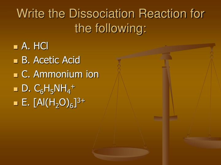 Write the dissociation reaction for the following