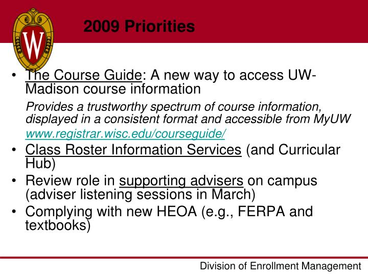 2009 Priorities