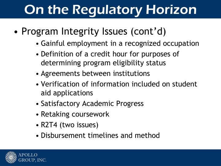 On the Regulatory Horizon