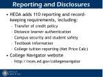 reporting and disclosures