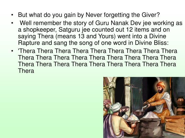 But what do you gain by Never forgetting the Giver?