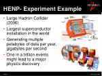henp experiment example