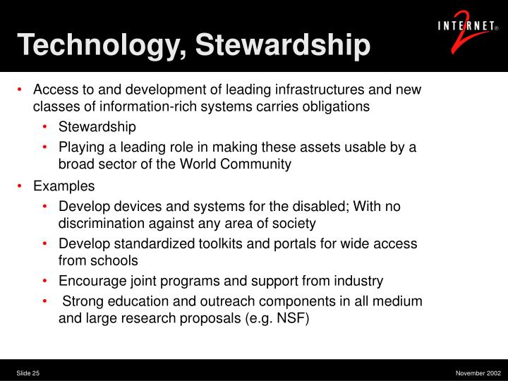 Technology, Stewardship