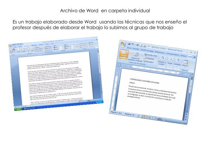 Archivo de Word  en carpeta individual