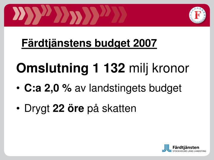 Färdtjänstens budget 2007
