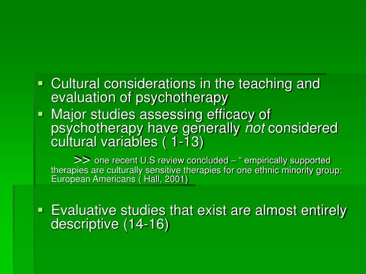 Cultural considerations in the teaching and evaluation of psychotherapy